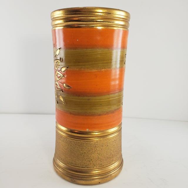 Mid Century Modern Italian Bitossi Italy Sun Rosenthal Netter Pottery Vase Vintage Sunburst Orange Gold For Sale - Image 4 of 8