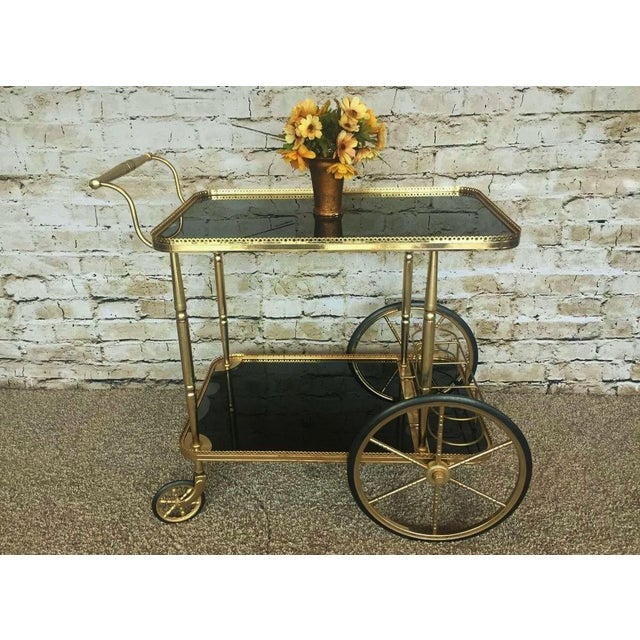 Hollywood Regency Maison Bagues Brass & Black Glass Tea Trolley For Sale - Image 5 of 9
