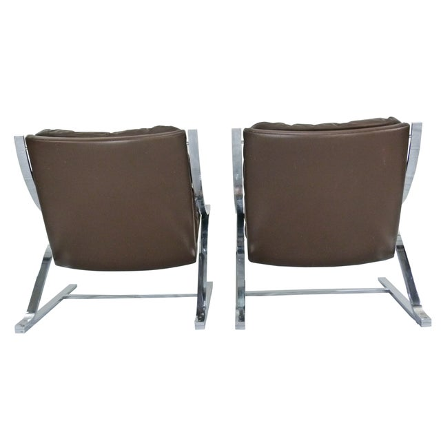 Paul Tuttle 1960s Brown Leather Zeta Chairs - Pair - Image 5 of 10