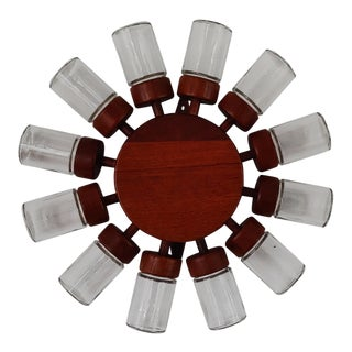 1964 Vintage Digsmed Denmark 12 Bottle Teak Spice Wheel For Sale