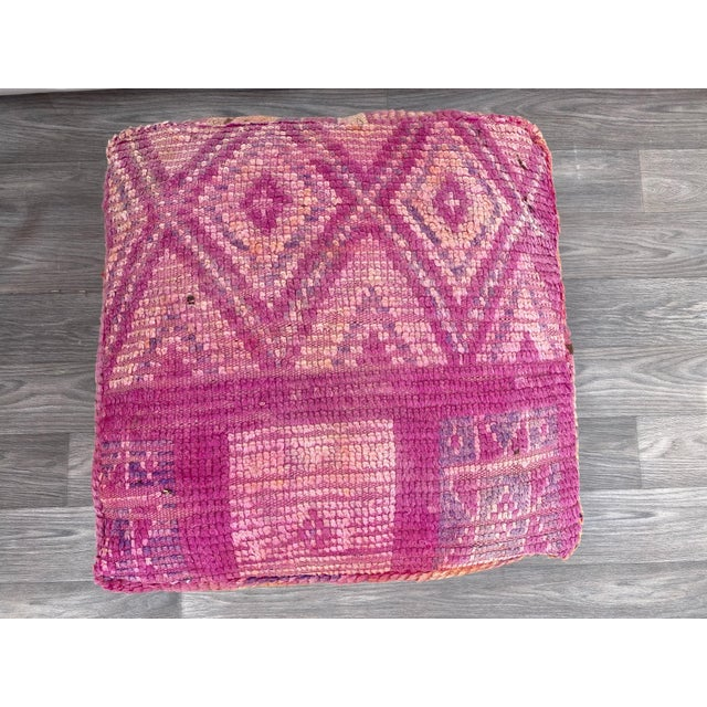 1980s Hand Woven Berber Moroccan Pouf Cover For Sale - Image 5 of 13