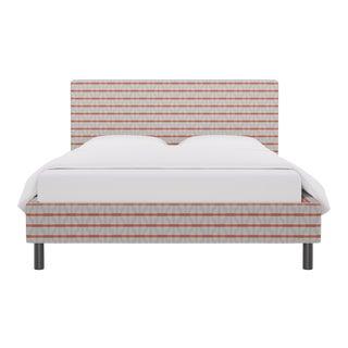 Queen Tailored Platform Bed in Grey Geo For Sale