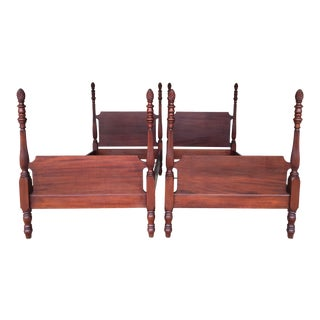 Antique Hadley Mahogany Pineapple Poster Beds - A Pair