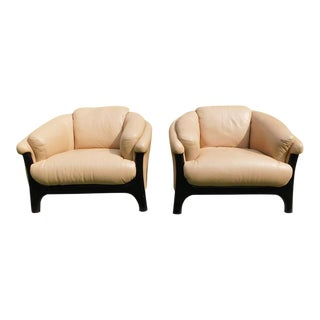 1980s Vintage Leather Scan Tub Lounge Chairs- A Pair For Sale