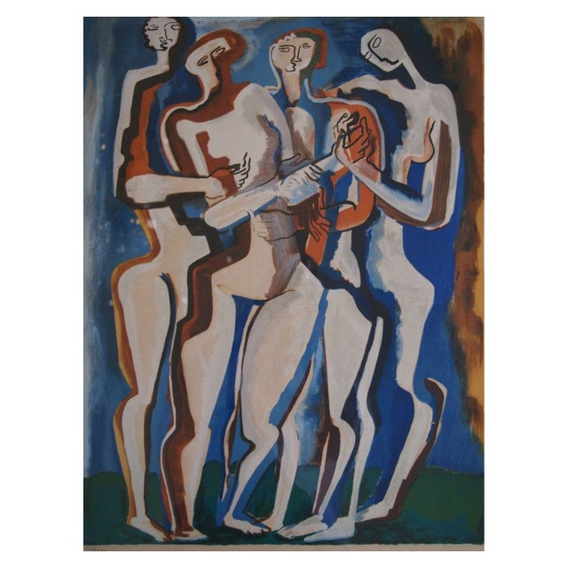 """Four Silhouettes"" Russian Avant Garde Lithograph - Image 1 of 1"