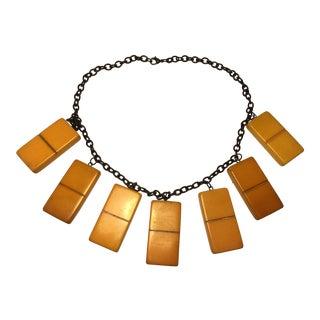 Butterscotch Bakelite Tile Necklace For Sale