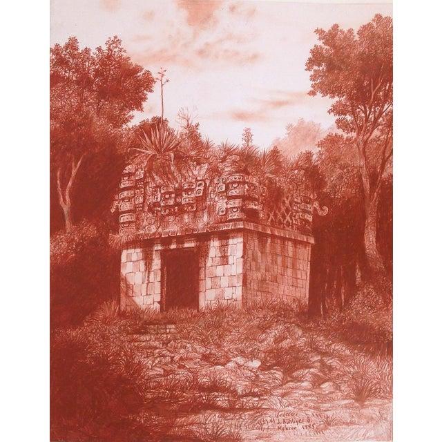"""Illustration of Mayan Ruins, """"Habitat Maya No.5"""" For Sale - Image 4 of 4"""