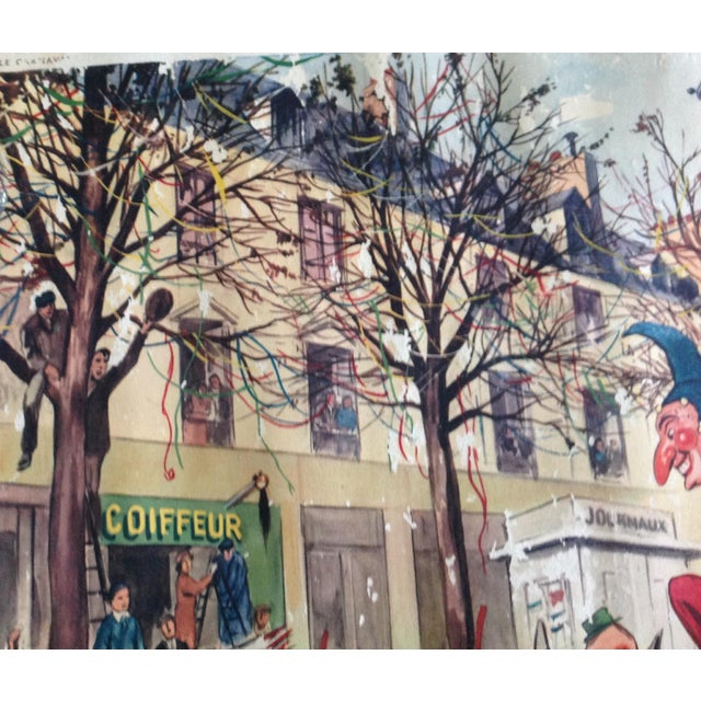 Vintage French School Poster of Carnaval. Chromolithograph For Sale - Image 4 of 6
