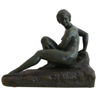 Art Deco Reclining Female Nude Bronze Sculpture by Marcel Bouraine For Sale