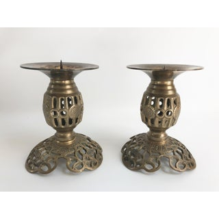 1960s Vintage Chinese Reticulated Brass Candle Holders - a Pair Preview