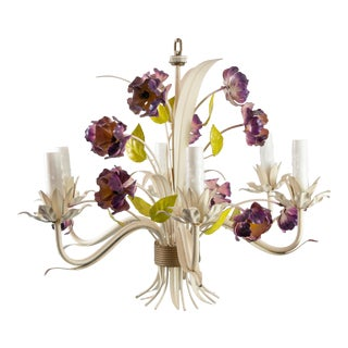 Vintage Mid-Century Italian Tole Poppies Six Arm Chandelier For Sale
