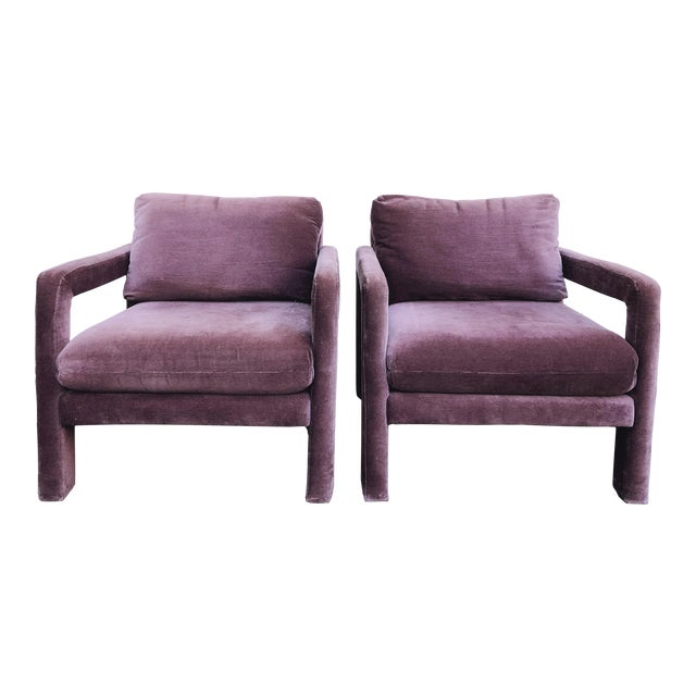 Milo Baughman Style Parsons Armchairs in Original Amethyst Fabric - a Pair For Sale