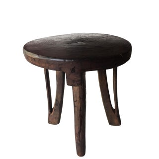 "Carved Wooden Makonde 4-Legged Stool From Tanzania 17.25"" H by 15.5"" For Sale"