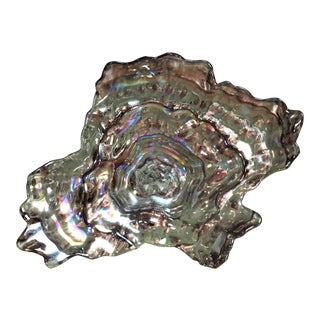 Mid Century Art Glass Abalone Shell Bowl For Sale