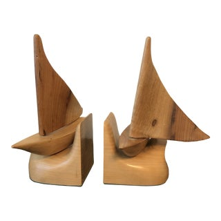 Vintage Collectible Sea Gulf Myrtle Wood Sailboat Book Ends - a Pair For Sale