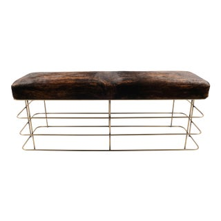 Brass Finish & Cowhide Bench For Sale