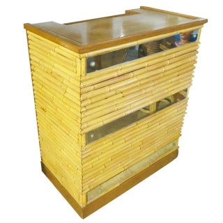 1940 Restored Rattan Bar with Mirror Front and Mohagany Top For Sale