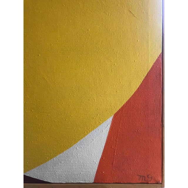 Abstract 1960s Vintage Mg Christian Abstract Geometric Oil on Canvas Painting For Sale - Image 3 of 12