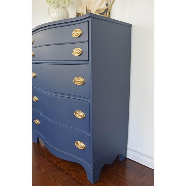 Bassett Serpentine Flat Navy-Blue and Gold Highboy Dresser - Image 5 of 11