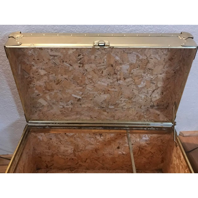 1950s 1950s Hollywood Regency Rolling Gold Metal Trunk Chest For Sale - Image 5 of 6