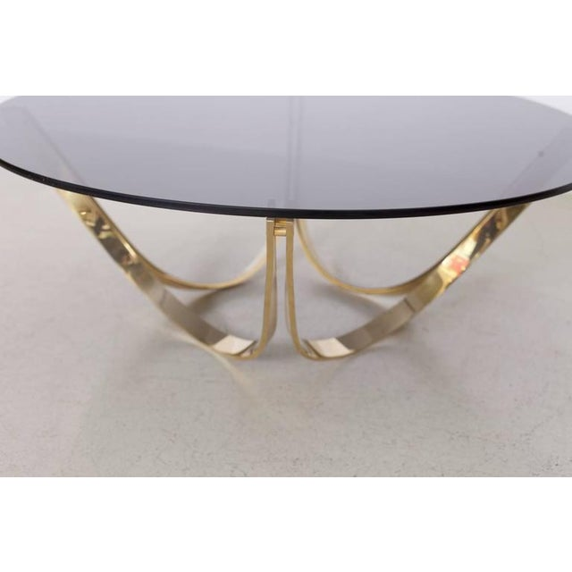 Brass and Smoked Glass Coffee Table by Tri-Mark, circa, 1971 For Sale - Image 4 of 8