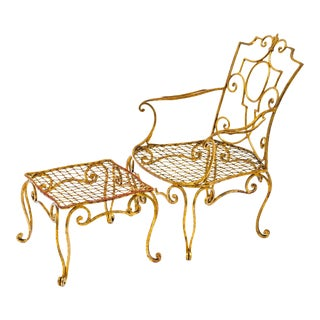 1940s Jean-Charles Moreux Gilt Iron Chair and Ottoman - a Pair For Sale
