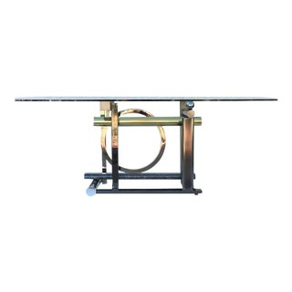 Postmodern MIX-Metals and Glass Dining Table by Kaizo Oto for Dia For Sale