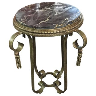 Green-Gold Patina Iron Table Art Deco Table For Sale