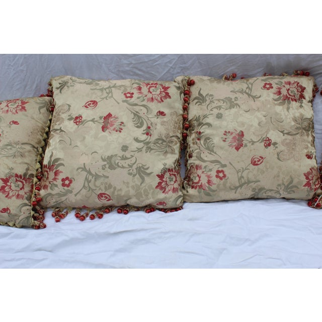 Vintage Italian/French Silk Down Embroidered Down Pillows - Set of 5 For Sale - Image 4 of 9