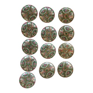 Rose Medallion Saucers - Set of 13 For Sale