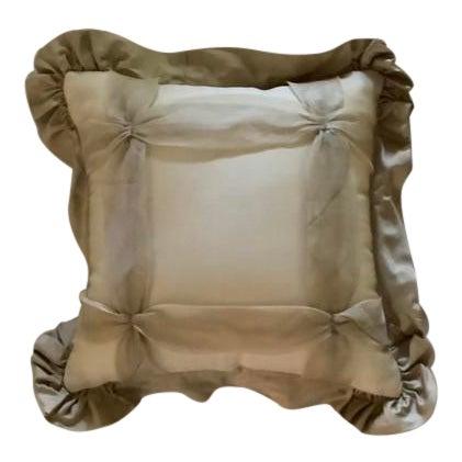 Custom Golden Silk and Taffeta Pillow For Sale