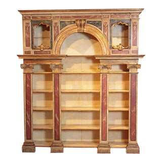 Early 19th Century Italian Neoclassical Faux Marble Painted Wood Open Bookcase For Sale