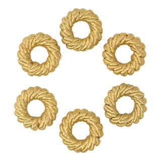 80s Vintage Gold Silk Rope Napkin Rings - Set of 6 For Sale