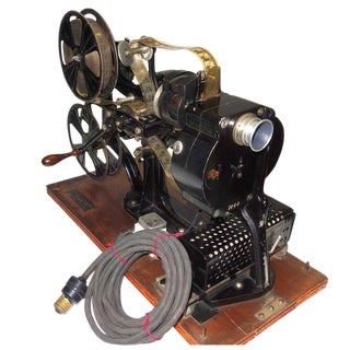 Pathe 28mm Hand Crank Movie Projector Sculpture Circa 1918. With One Reel and Can of original Circa 1912, 28Film. For Sale