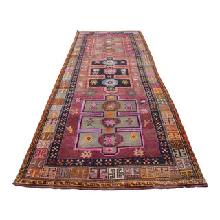 Colorful Turkish Runner Rug. Hand-Knotted Low Pilw Tribal Oushak Rug Runner - 4′8″ × 13′8″ For Sale