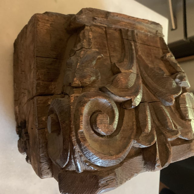 Brown English Colonial Indian Carved Teak Column Base Architectural Element C 1890 For Sale - Image 8 of 13