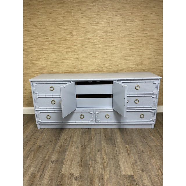 Hollywood Regency Vintage Drexel Lexington Faux Bamboo Blue Gray Lacquered Credenza For Sale - Image 3 of 7