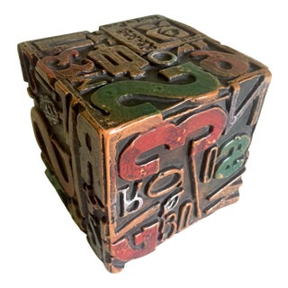 "Sheldon Rose Rare Vintage 1968 Mid Century Modern "" Alphasculpt "" Cast Metal Typography Sculpture Cube For Sale"