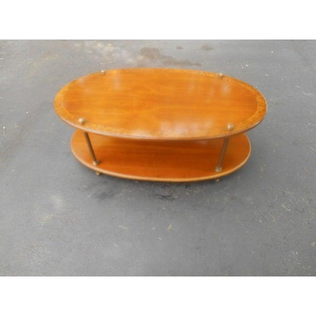 Vintage Brandt Burl Wood Inlay Oval Coffee Table - Image 4 of 7