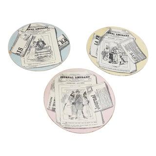 Rare Set of Three 19th Century Plates by Georges Dreyfus, Paris