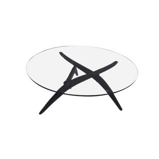 1960s Mid-Century Modern Adrian Pearsall Round Glass and Walnut Spider Leg Coffee Table For Sale