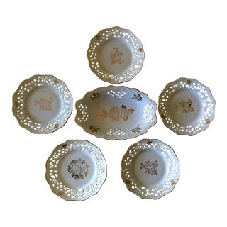 Antique Germany Porcelain Reticulated Coasters and Dish - 6 Pieces For Sale