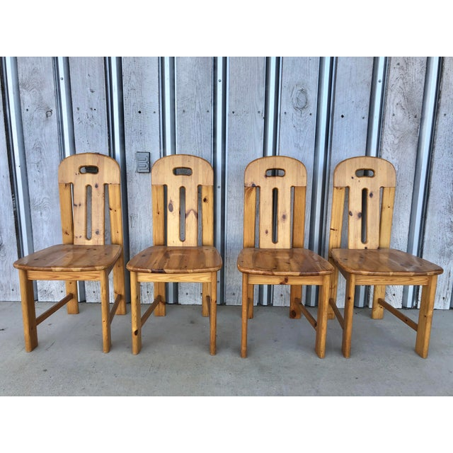 """1970's French pine dining chairs. Seat h 18"""""""