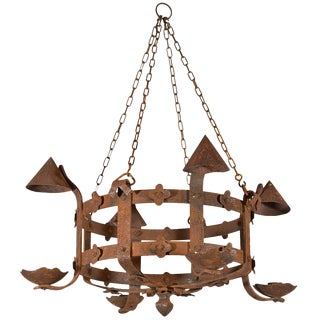 Antique French Round Iron Chandelier, Circa 1920 For Sale