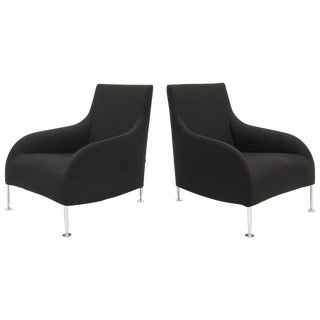 Pair of Antonio Citterio Chairs With Pull Out Footrest, Black With Chrome Legs For Sale