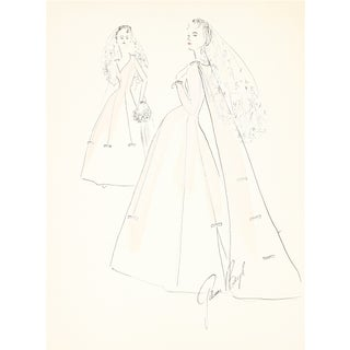 1950s Wedding Dress Original Illustration For Sale