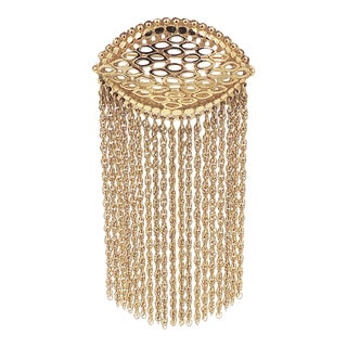 1970s Monet Goldtone Fringe Brooch For Sale