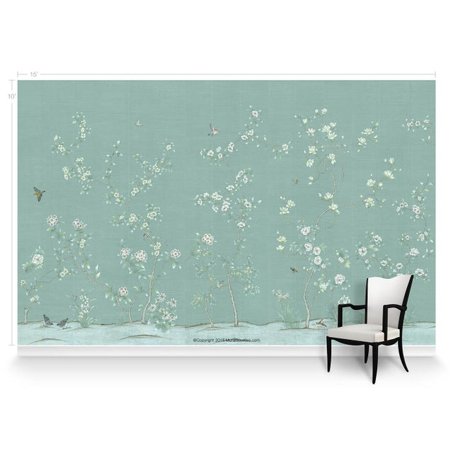 Chinoiserie Casa Cosima Octavia Blue Wallpaper Mural - Sample For Sale - Image 3 of 5