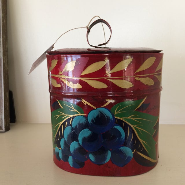 Antique Hand Painted Toleware Tea Caddy For Sale - Image 13 of 13