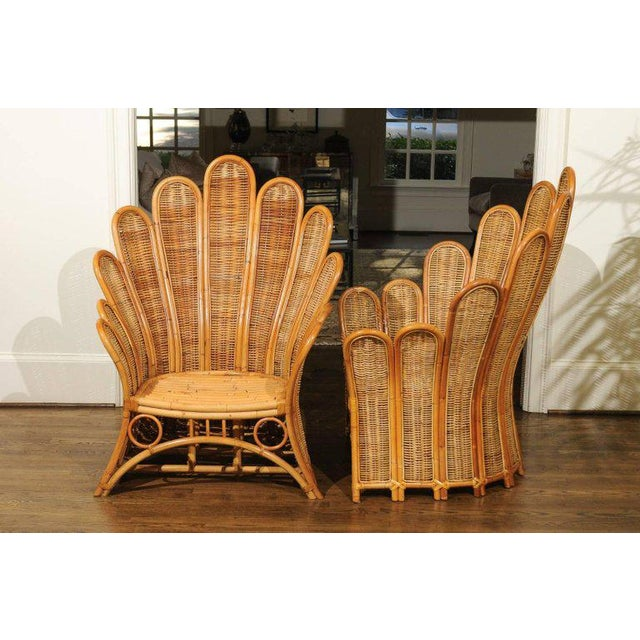 Majestic Restored Pair of Vintage Rattan and Wicker Palm Frond Club Chairs For Sale - Image 10 of 13